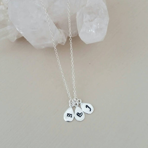 Silver Teardrop INITIAL Necklace