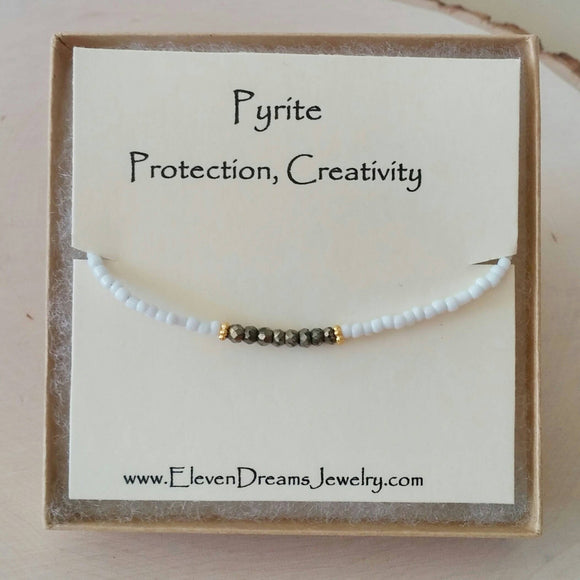 PROTECTION Pyrite + Seed Bead Bracelet
