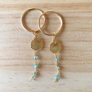 BEACHY Shell Hoop Earrings