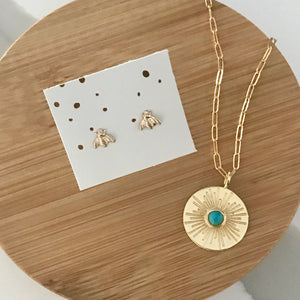 Turquoise Sunburst Pendant Necklace
