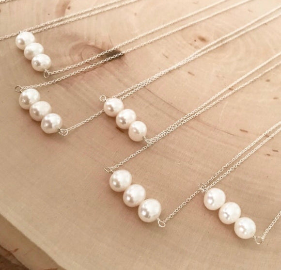 Freshwater Pearl Bar Necklace (Gold or Silver)