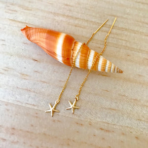 Gold STARFISH Threader Earrings