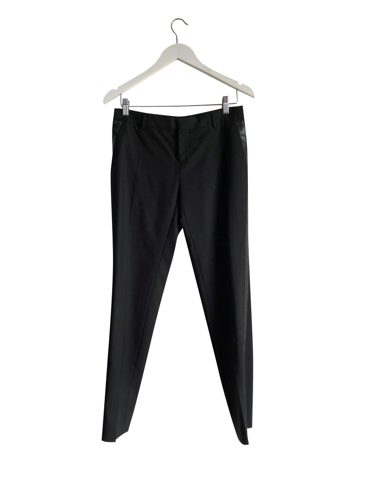 Saint Laurent Leather- Trimmed Wool-Twill Tuxedo Pants