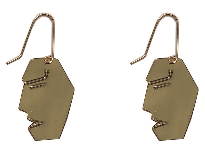Franceska Abstract Face Earrings - Gold