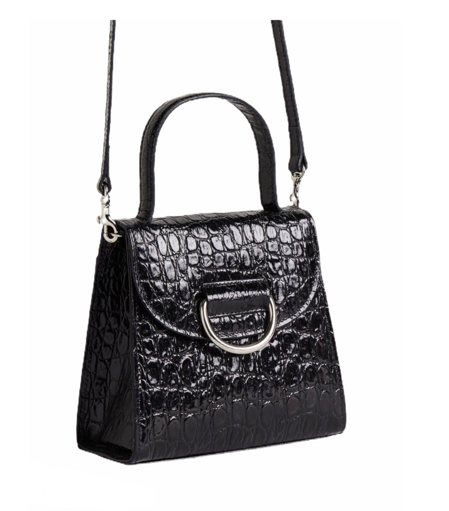 Little Liefner Lady Black Leather Moc Croc Bag - NWT