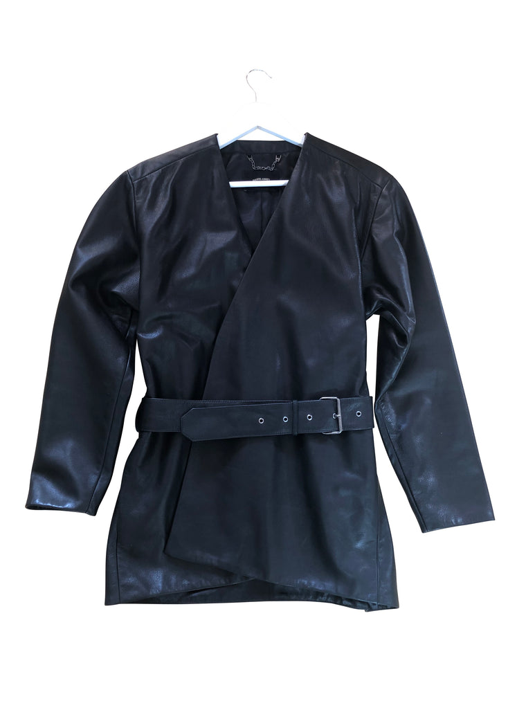 Rachel Comey Black Leather Wrap Jacket