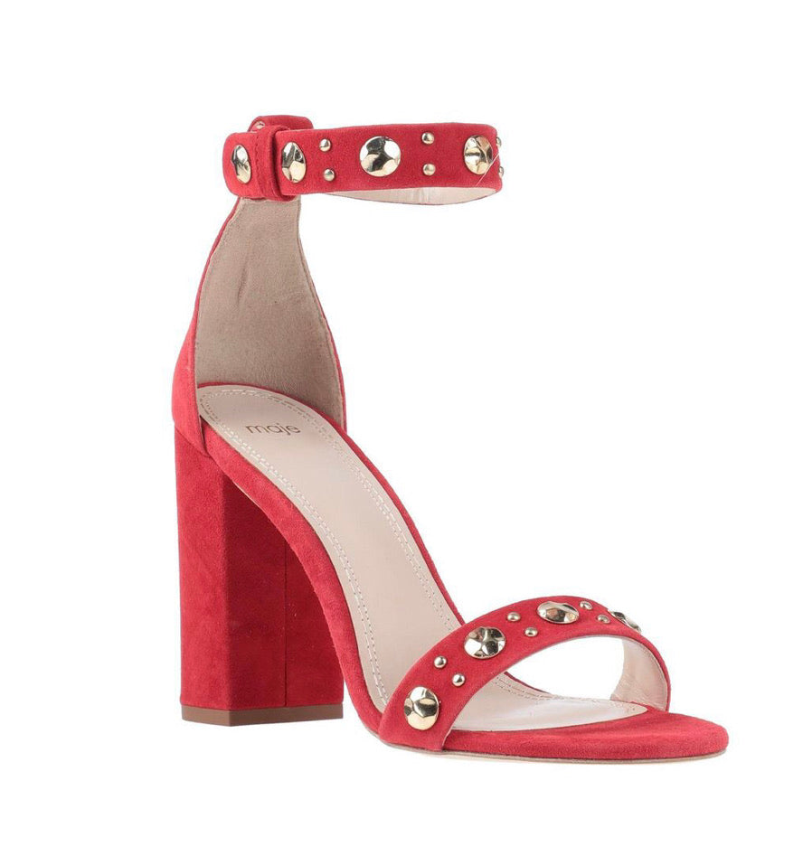Maje Red Suede Sandals