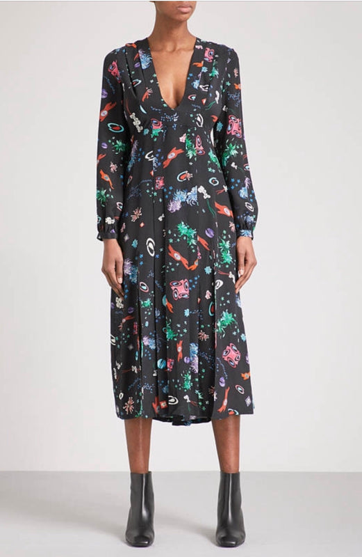 Rixo Silk Space Camellia Dress