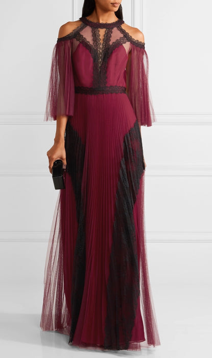 Marchessa Notte Pleated Evening Gown