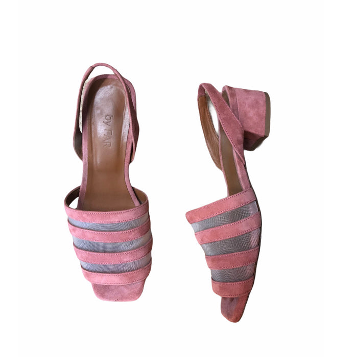 By Far Pink Suede Sling Backs