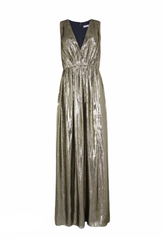 Alice + Olivia Gold Metallic Maxi Dress