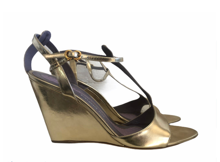 Anya Hindmarch Gold Wedge Shoes - As new