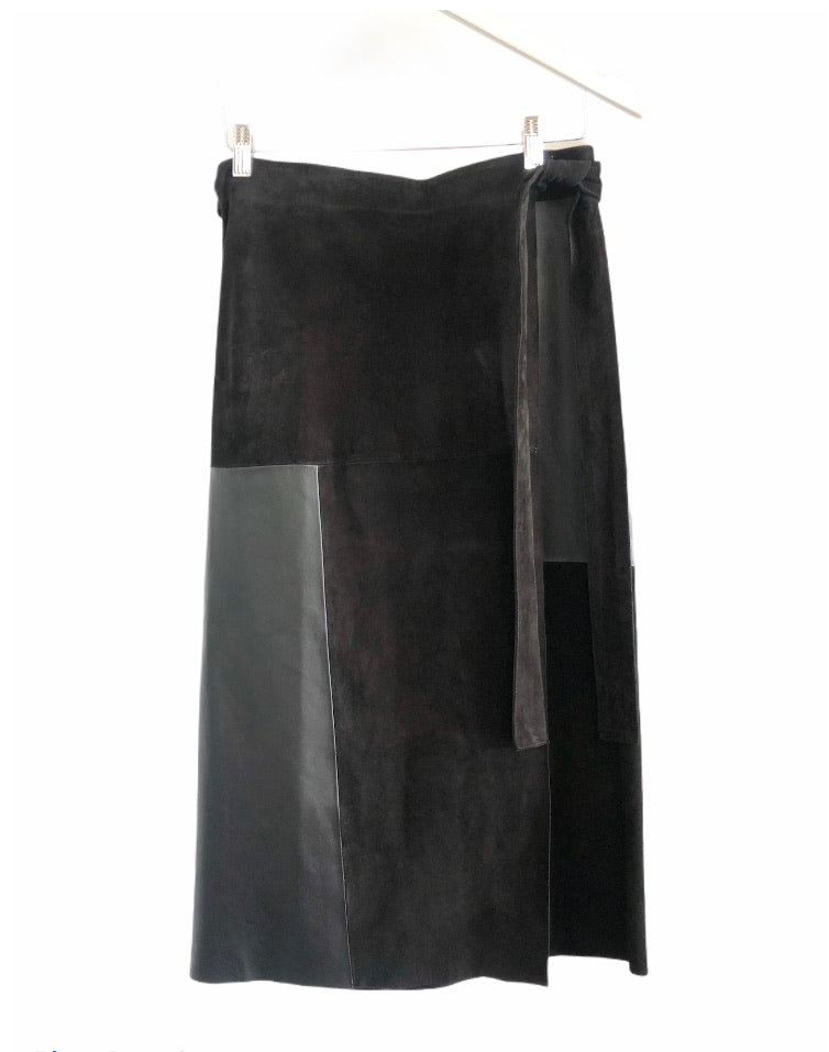 Tiger of Sweden Suede and Leather Wrap Skirt