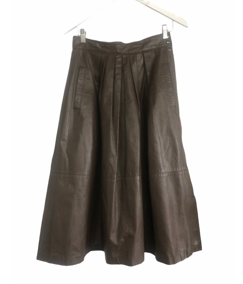 Vintage Betty Barclay Brown Leather Skirt