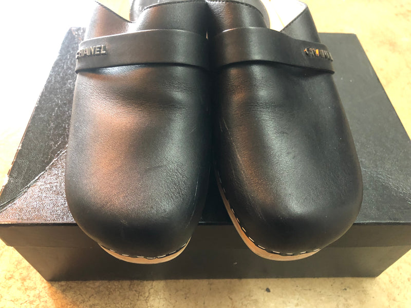 Chanel Black Leather Clogs -Reserved