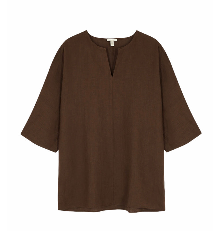 Eileen Fisher Organic Linen Cocoa Tunic - Current Season - NWT