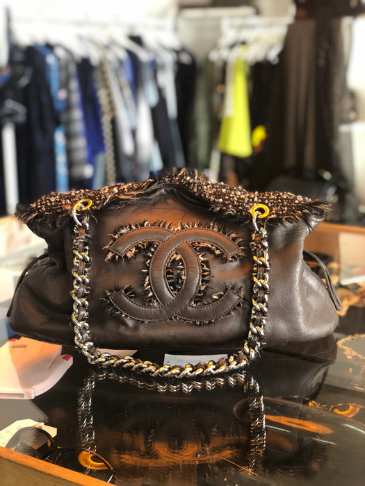 Chanel Leather and Tweed Bon Bon Bag