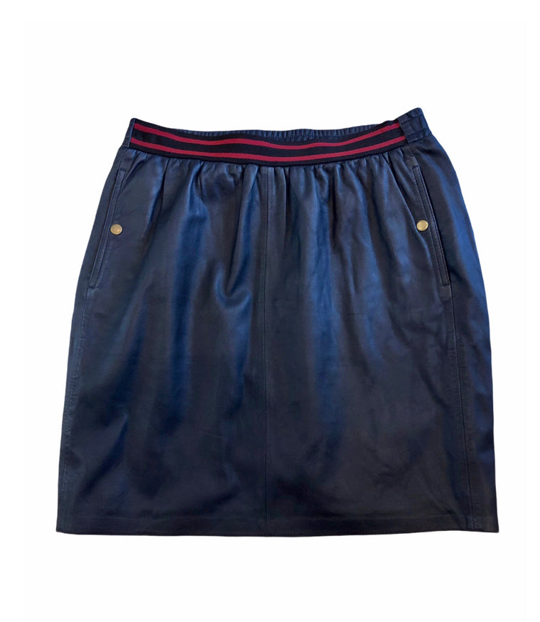 Second Female Navy Leather Skirt