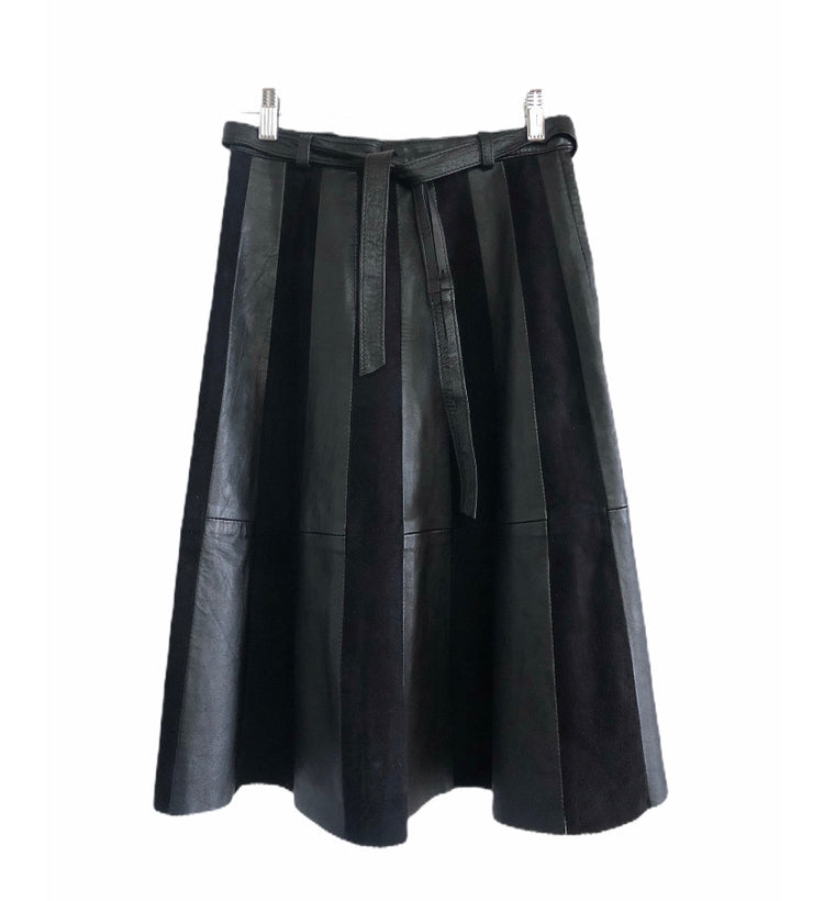 Vintage Black Leather and Suede Panel Skirt