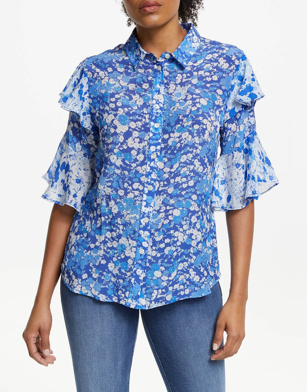 Lily and Lionel Blue Floral Blouse