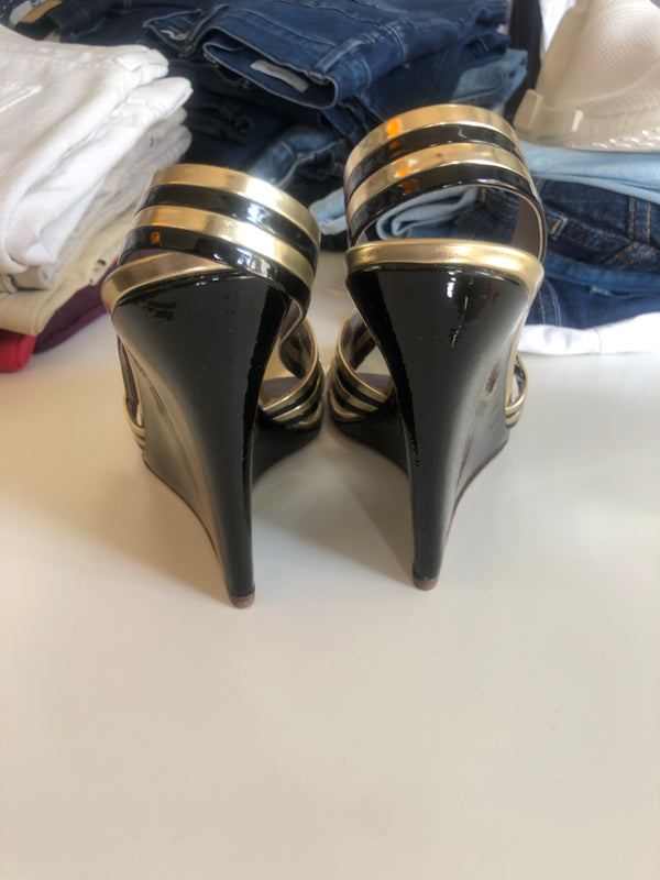 Anya Hindmarch Black and Gold Wedges - new