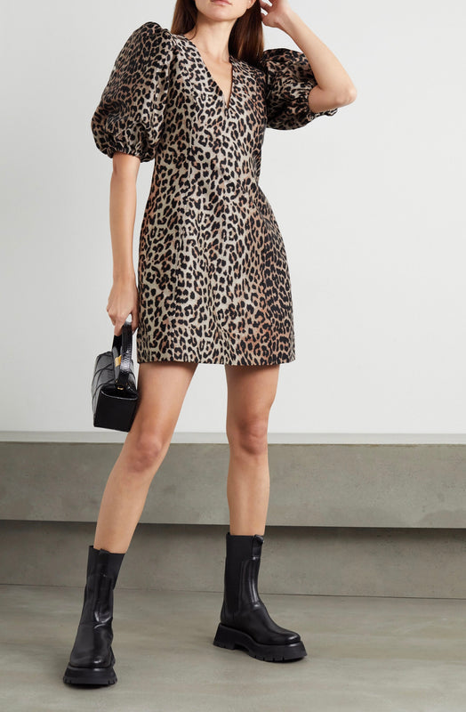 Ganni Leopard Puff Sleeve Dress
