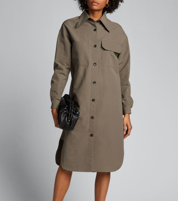 Deveux New York Khaki Shirt Dress