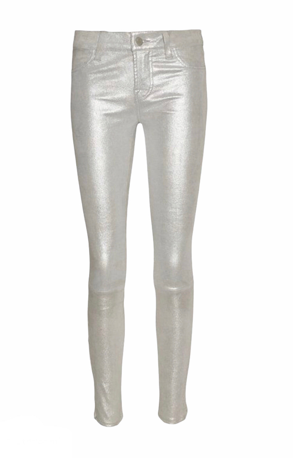 J Brand Silver Metallic Stretch Leather Trousers