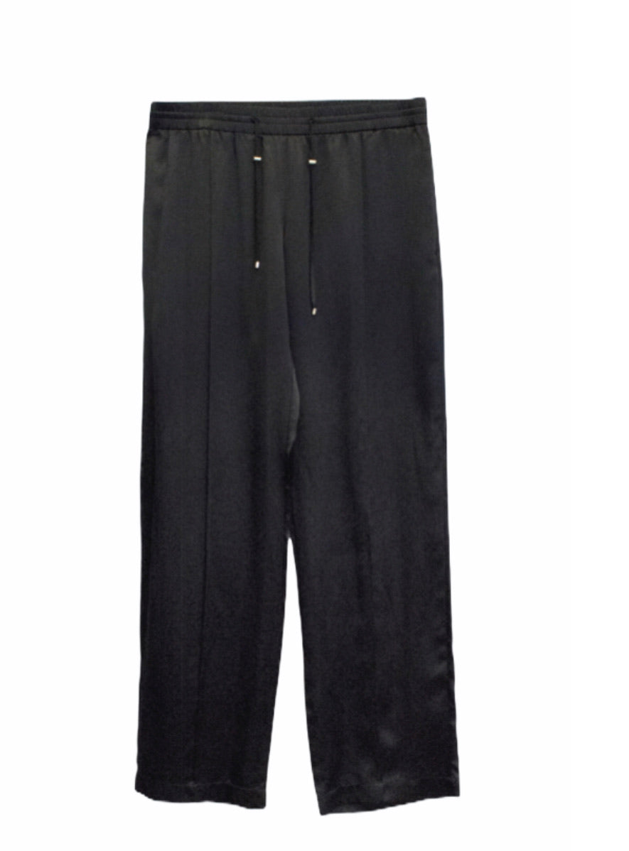 Hamish Morrow Black Satin Draw Waist Pants - NWT