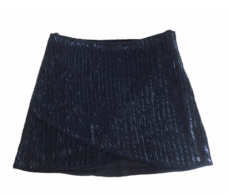 Rosa Cha Black Beaded Mini Skirt