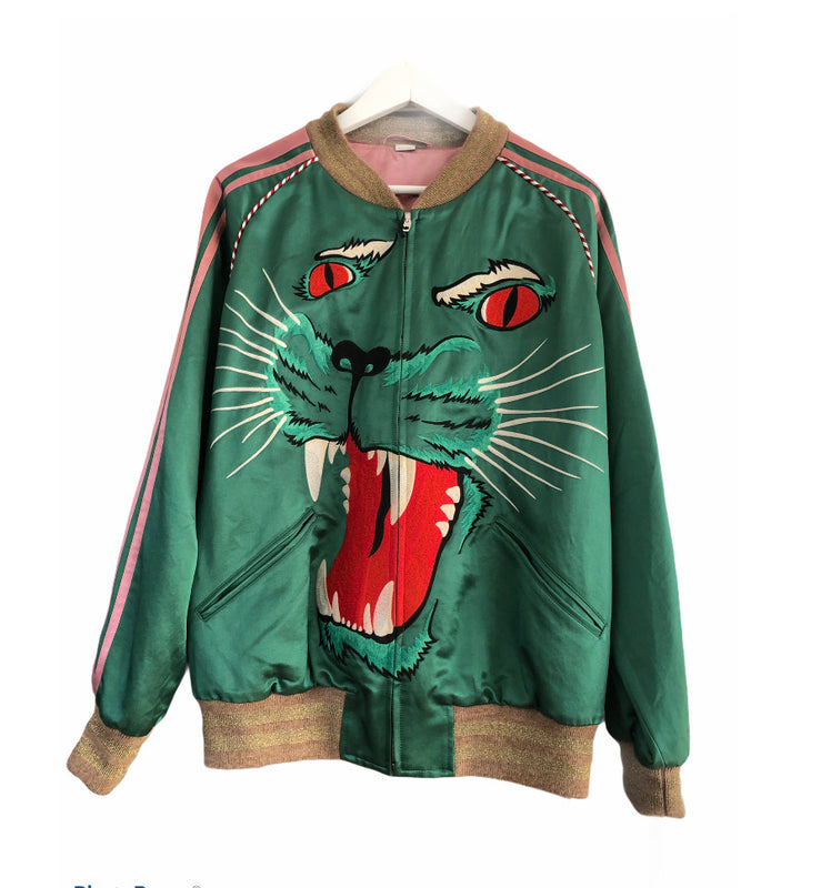 Gucci Satin Panther Bomber Jacket