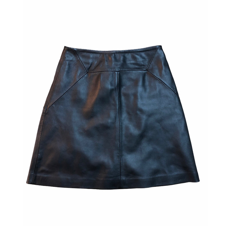 Whistles Leather Short A Line Skirt