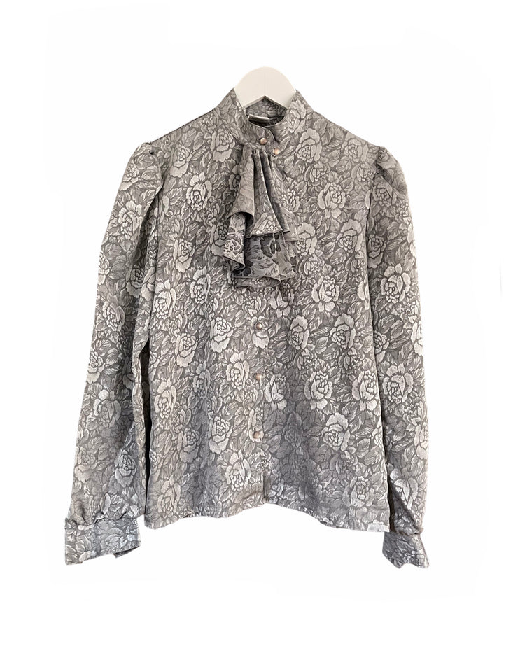 Vintage Floral Embossed Ruffle Blouse