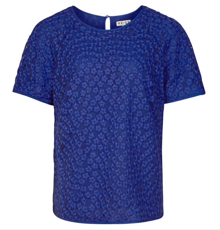 Reiss Blue Floral Embroidered Top - NWT