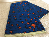 Royal Blue Color and Star Pattern Fabric, Fabric by the yard, Africa Fabric, Ankara, Designer Fabric, Blue Cotton Fabric