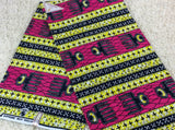Fabric by the yard, Africa Fabric, Ankara, Designer Fabric, White, Pink and Yellow bold print - KaraOShop
