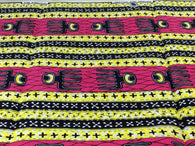 Fabric by the yard, Africa Fabric, Ankara, Designer Fabric, Pink, yellow and black