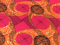 Fabric by the yard, Africa Fabric, Ankara, Designer Fabric, Pink and Orange bold print