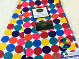 Fabric by the yard, Africa Fabric, Ankara, Designer Fabric, Red, White, Blue and Green Circles Cotton Fabric
