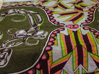 Fabric by the yard, Africa Fabric, Ankara, Designer Fabric, Pink, Lime Green, and White Bow Cotton Fabric