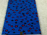 Fabric by the yard, African Fabric, Ankara, Designer Fabric, Blue and Pink Stars Cotton Fabric