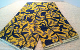 Fabric by the yard, African Fabric, Ankara, Designer Fabric, Brocade, Blue, Lime Green and Gray Cotton Fabric