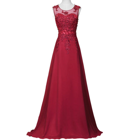 A-Line Sheer Lace Chiffon Bridesmaid Dress - Red