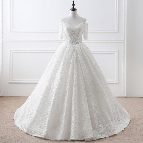 V-neck Off-The-Shoulder Wedding Dress
