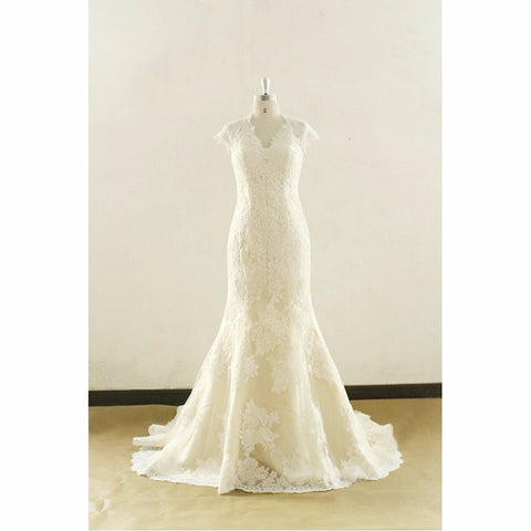 Ivory V-Neck Cap Sleeve Lace Wedding Dress with Chapel Train