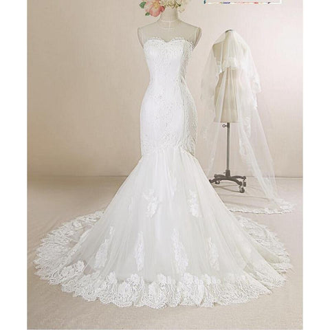 White  Lace Tulle Mermaid /Trumpet Chapel Train