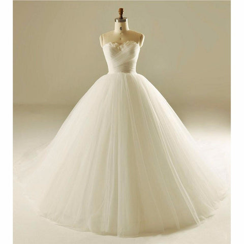 Tulle Ball Gown Wedding Dress Chapel Train