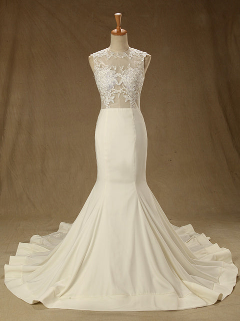 Sheer Lace Mermaid Wedding Dress