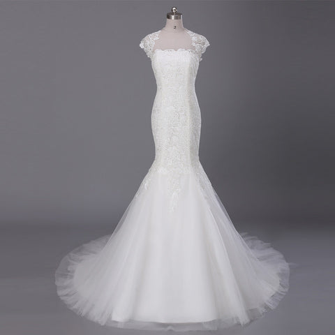 Lace Mermaid Key Hole Back Chapel Train Wedding Dress