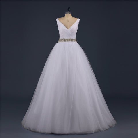 V-neck Tulle Princess Bridal Gown